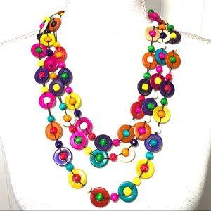 Boho button colorful 3 strand necklace